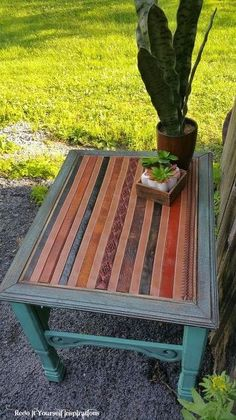 new use for old leather belts...rustic end table in bliss, painted furniture, rustic furniture