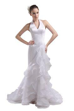 Herafa Halter A-Line Sweep Length Train Satin and Charmeuse Ruffle Front Wedding Dress $157.50