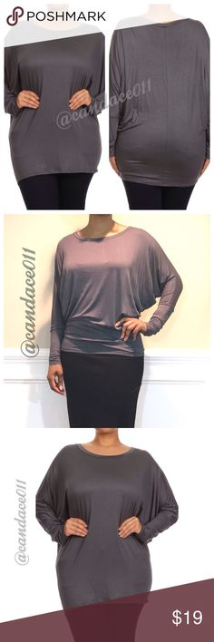 Long Sleeved Dolman Top (Steel) ✳️Feel free to make a reasonable offer. 👍 ✳️  🔹Scoop neckline 🔹95% Polyester, 5% Spandex 🔹Loose in the torso. Fitted at the hip. 🇺🇸Made in the USA🇺🇸 🔹Size Recommendations: (S) 2-4; (M) 6-8; (L) 10-12; (XL) 14-16; (2X) 18-20; (3X) 22-24 CC Boutique  Tops Tees - Long Sleeve