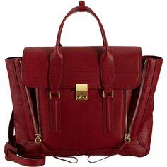 3.1 Phillip Lim Large Pashli Satchel (16,165 EGP) ❤ liked on Polyvore featuring bags, handbags, purses, bolsas, accessories, satchel handbags, red leather satchel, red leather purse, leather purses and red hand bags