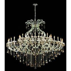 Maria Theresa Chrome Forty-Nine Light 72-Inch Chandelier with Royal Cut Golden Teak Smoky Crystal