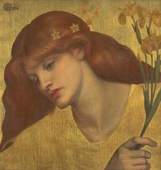 Artwork details Artist Dante Gabriel Rossetti (1828‑1882) Title Sancta Lilias Date 1874 Medium Oil paint on canvas Dimensions support: 483 x 457 mm frame: 819 x 801 x 88 mm Collection Tate Acquisition Presented by Madame Deschamps in memory of Georgiana, Baroness Mount-Temple 1909