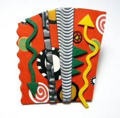 Red Collage Polymer Clay Pin Handmade Brooch Abstract Art Jewelry Green Yellow Canework