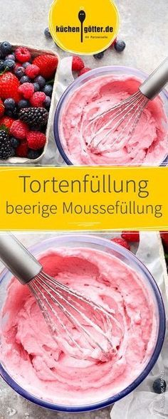 Mixed berry mousse filling for Gemischte Beeren-Moussefüllung für Torten We show you a delicious recipe for a quick cake cream, made from different berries. Very refreshing and especially suitable for summer cakes! Mousse, Cake Recipes, Snack Recipes, Dessert Recipes, Easy Healthy Recipes, Easy Meals, Berry, Quick Cake, Summer Cakes