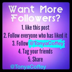 FOLLOW❣ FOLLOW❣FOLLOW❣ 1. Follow everyone that has liked this listing          2. Hit the like button so you can be followed as           well.                                                                       3. Make sure you share this listing .              4. Watch your followers grow!   Easy Peazy  Other
