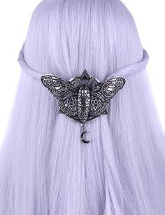 Barette pince � cheveux mite occulte avec symboles, lunes et pendules   Shop : www.japanattitude.com