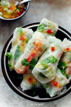 Mango, Avocado, & Grilled Chicken Spring Rolls with a Spicy Orange Sweet & Sour Sauce