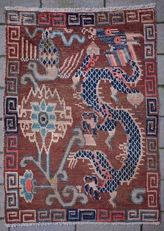 Unique Design Antique Tibetan Dragon Rug image www.dragon-gallery.com