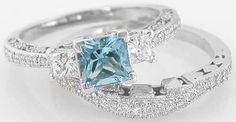 Aquamarine Engagement Ring with wedding band