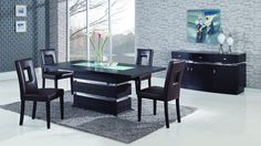 Global DG072DT+D072DC-BRi+DG072-Buffet Diningroom Set - Modern diningroom set. Consist of:  wooden wenge table, 4 PU leather brown chairs, 3-doors buffet.