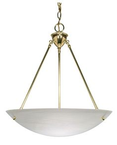 "Nuvo Lighting 60/372 3 Light 22.5"" Wide Pendant with Alabaster Glass Shade Polished Brass Indoor Lighting Pendants"