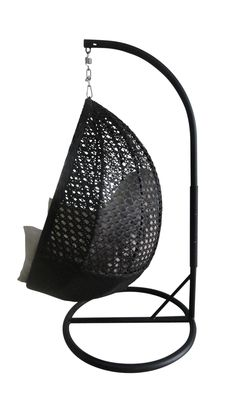 Appealing Hanging Egg Chair In Black With Black Iron Base Stand Chairs As Decorate Modern Furniture Designs Ideas