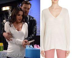 Sam Morgan's Cream V-Neck Sweater - General Hospital, Kelly Monaco, #GH #GeneralHospital Wardrobe