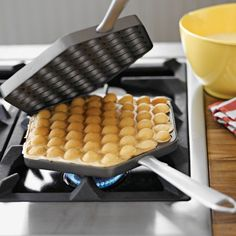 Nordic Ware Egg Waffle Pan: Makes puffy  egg shaped waffles that are crispy-golden on the outside and tender-dreamy on the inside! #Waffle_Iron #Egg_Waffle