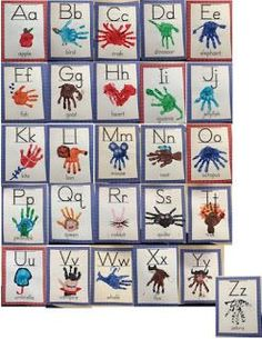 Classroom handprint alphabet chart and student alphabet book. Great to hang as an alphabet chart in your classroom for your students to refer to, giving your students ownership of their learning environment! Abc Crafts, Alphabet Crafts, Daycare Crafts, Alphabet Art, Letter A Crafts, Alphabet Activities, Preschool Activities, Spanish Alphabet, Alphabet Coloring