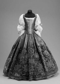 Bodice and skirt, mid-17th century.
