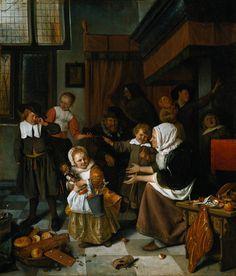 A Festa de São Nicolau. Óleo sobre tela. Jan Steen (1665-1668). Barroco holandês.
