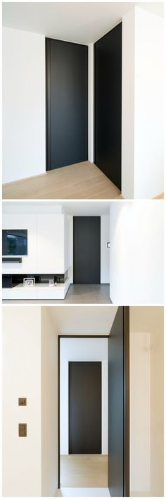 """Moderne zwarte deuren op maat van het Belgische merk """"Anyway Doors""""."""