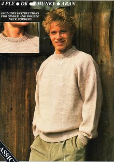 958b5b3f94b7d2 mens classic round neck sweater knitting pattern pdf 4ply DK aran or chunky  mens crew neck jumper Vintage 34-44 inch Instant Download