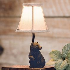 Woodland Bear Accent Lamp - A Black Forest Decor Exclusive - Light your rustic home with this polyresin accent lamp featuring an adorable curious bear. Rustic Lamps, Rustic Lighting, Rustic Decor, Black Bear Decor, Black Forest Decor, Woodland Lights, Diy Log Cabin, Best Desk Lamp, Bright Homes