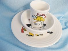 Homer Laughlin Fiesta Ware Child's Place Setting  Hometown Heroes 3 Pieces