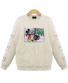 Shop White Round Neck Mickey Print Sweatshirt online. Sheinside offers White Round Neck Mickey Print Sweatshirt & more to fit your fashionable needs. Free Shipping Worldwide!