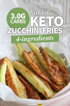4-Ingredient Keto Baked Zucchini Fries (3.0g Carbs)