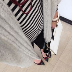 Stripes + plaid + cozy knits // www.TheDarlingNiki.com