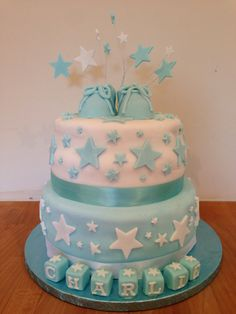 Baby Shower Christening Cake Boys Stars Booties Blue Blocks Name Charlie