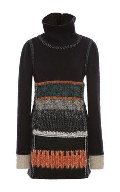 Black Multi-Knit Turtleneck Long Sleeve Sweater by Calvin Klein Collection - Moda Operandi