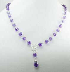 Amethyst Necklace Amethyst and Sterling Silver Necklace Y #laurierobertsjewelry #amethystnecklace #sterlingsilverjewelry