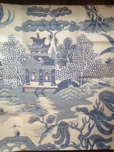 """Blue willow grasscloth wallpaper from lee jofa -- who can afford lee jofa?I have never seen a pattern like this on grasscloth wallpaper ,) Wallpaper Stencil, Chinoiserie Wallpaper, Chinoiserie Chic, Painting Wallpaper, Wall Wallpaper, Wallpaper Ideas, Willow Pattern, Blue China, Designer Wallpaper"
