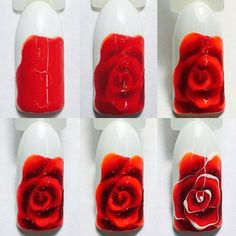 How to make a rose nail art Nail Art Fleur, Rose Nail Art, Floral Nail Art, Rose Nails, Flower Nails, My Nails, Rose Nail Design, Nail Art Techniques, Pedicure Nail Art