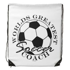 Soccer Futbol Sports Worlds Greatest Coach RND Backpacks  This funny design for the soccer - futbol ball coach on your gift list features a black and white ball with white and black text Worlds Greatest Soccer Coach. Great gift for a player, fan or coach.