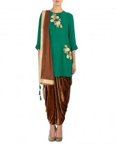 Kelly Green and Brown Suit with Floral Motifs