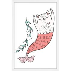 Purrmaid 03 inch Framed Painting Print, Multicolor