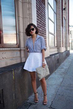 Blue shirt, white circle skirt, black sandals. KarlasCloset blog