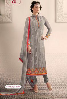 Grey #Pure Georgette #Semi #Stitched #Salwar #Kameez #nikvik  #usa #designer #australia #canada #freeshipping #suits #pakistani