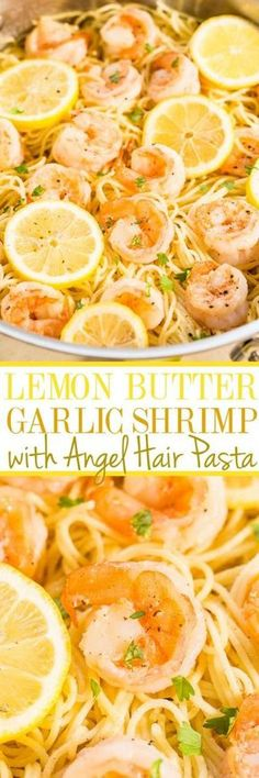 Lemon Butter Garlic Shrimp with Angel Hair Pasta - Easy and ready in 15 minutes! Big lemon flavor, juicy shrimp, and buttery noodles all in one dish everyone will love! A healthy weeknight dinner for those busy nights! paleo dinner for one Lemon Garlic Butter Shrimp, Garlic Shrimp Pasta, Lemon Butter Garlic Shrimp, Sheimp Pasta, Garlic Parmesan Shrimp, Shrimp Noodles, Cooked Shrimp, Seafood Pasta, Fresh Garlic