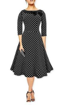 Long Sleeve Polka Dot Vintage Dress with Bow