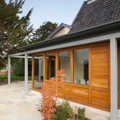 Modern extension to listed farmhouse, Norfolk Oak boarding and joinery, steel frame Joinery, Steel Frame, Norfolk, Garage Doors, Farmhouse, Houses, Outdoor Decor, Modern, Home Decor