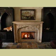COMPLETED ANTIQUE FIREPLACE MANTEL INSTALLATION WITH NON-VENTED GAS INSERT IN A CUSTOMER'S HOME : Architectural Artifacts - Toledo, OH