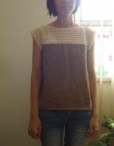 Crochet bodice with fabric attached - extend beyond shoulder for longer sleeves.