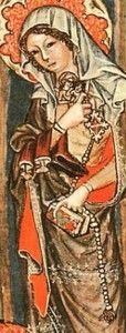 1350s, Saint Hedwig of Silesia. Long paternoster, not looped, and attached with a brooch, Hedwigs Codex