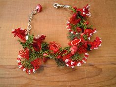 red flower bracelet needle lace coral green oya by PashaBodrum, $19.95