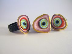 New Rings by Debbie Crothers (polymer clay)