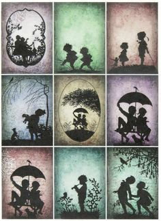 Ricepaper/ Decoupage paper,Scrapbooking Sheets Vintage Silhouette Children Color | eBay