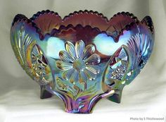 """European Carnival Glass: Made in Sweden by Eda Glasbruk, and given the name in their catalogues """"Amerika"""". It is also known today as """"Sunk Daisy"""" Cut Glass, Glass Art, Vase Cristal, Blue Carnival Glass, Rainbow Glass, Antique Glassware, Vintage Carnival, Fenton Glass, Glass Dishes"""