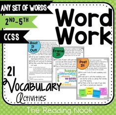 Word Work - Vocabulary by The Reading Nook | Teachers Pay Teachers