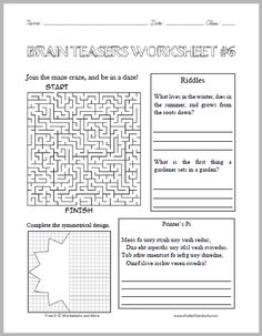 Middle School Brain Teasers Worksheet Worksheets for all ...